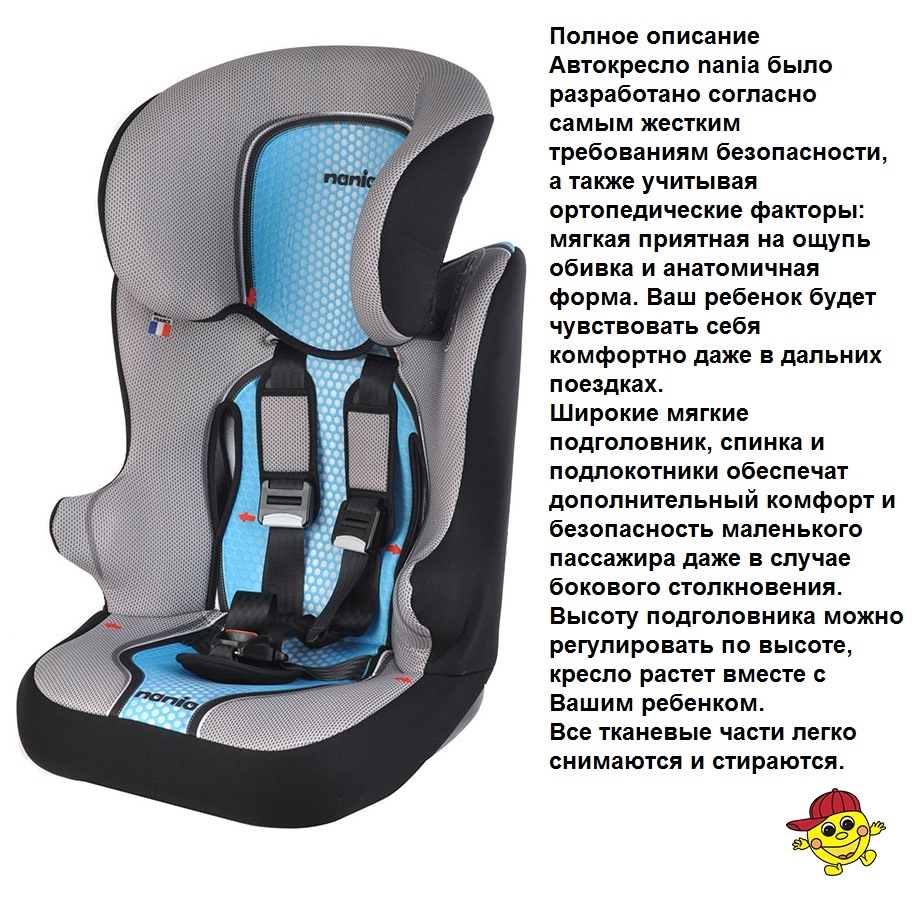 Автокресло 9-36 кг Nania Raсer SP pop blue Isofix (синий)