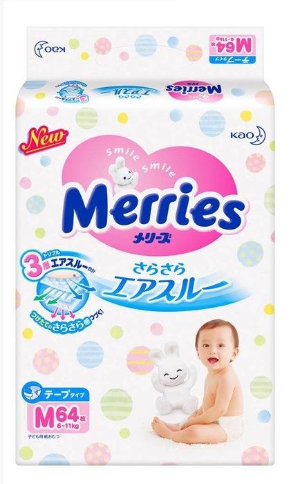 Merries подгузники для детей размер М 6-11 кг/64 шт