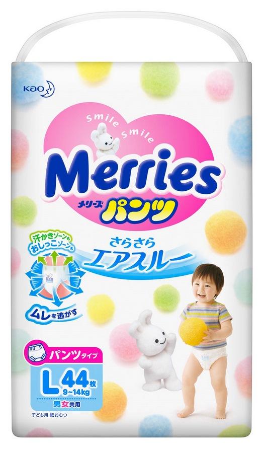 Merries трусики-подгузники для детей размер l 9-14 кг/44 шт