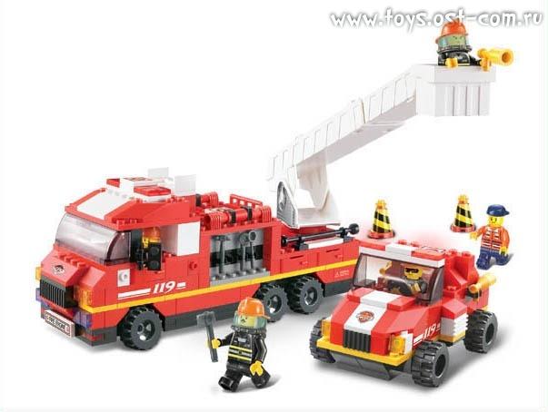 Конструктор пластмассовый sluban пожарные спасатели: дежурный отряд (пожарная машина с лестницей, джип, 363 детали)
