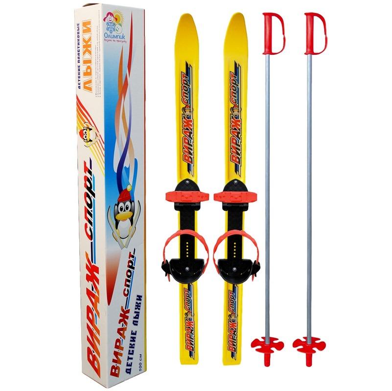 Лыжи детские вираж-спорт с палками,пластиковые