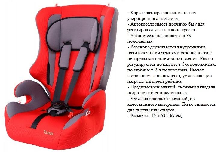 Автокресло 9-36 кг Zlatek Atlantic (красный)