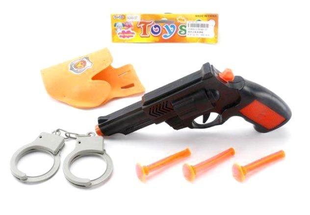 Набор оружия полицейский, пистолет, наручники