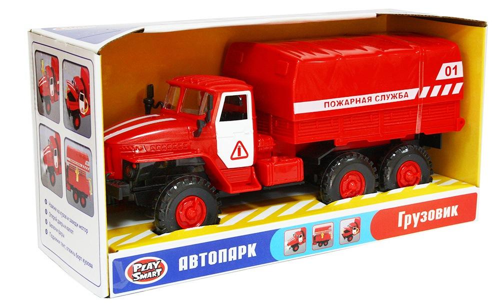 Машина инерционная a533-h11049 урал пожарная служба 26 см (9464b) свет/звук, в/к.