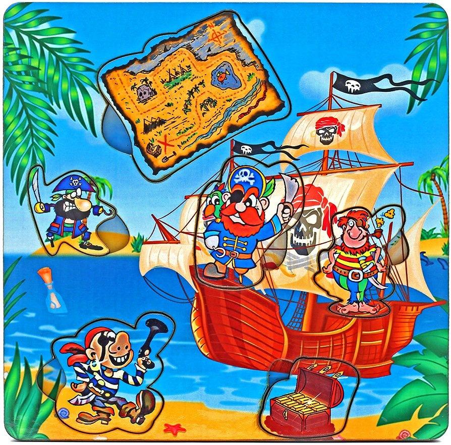 Рамка-пазл из дерева «пираты с картой», арт. ig0023