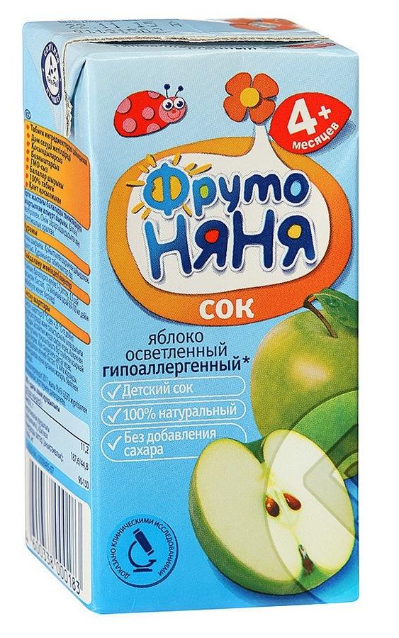 Фрутоняня сок 200мл яблоко осветл. б/сахара <лебедянский оао>