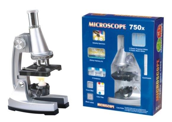 Набор первые открытия, микроскоп, аксесс., мет., цвет в ассорт., кор.