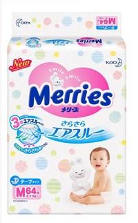 Merries подгузники для детей размер М 6-11 кг/64 шт (118818)