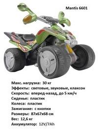 Электроквадроцикл Injusa Quad Mantis Dominator от 2 лет (свет, звук,зеленый) (140155)