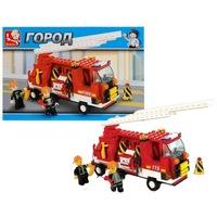 """Конструктор пластмассовый sluban """"пожарная команда: пожарная машина с лестницей"""" (в наборе фигурки людей, 175 деталей) (178871)"""