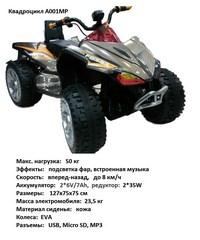 Электроквадроцикл RiverToys A001MP от 3 лет (свет, звук, золотой) (271223)