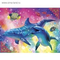 """Алмазная вышивка стразами с частичным заполнением """"дельфины"""" холст, емкость   1716619 (280913)"""